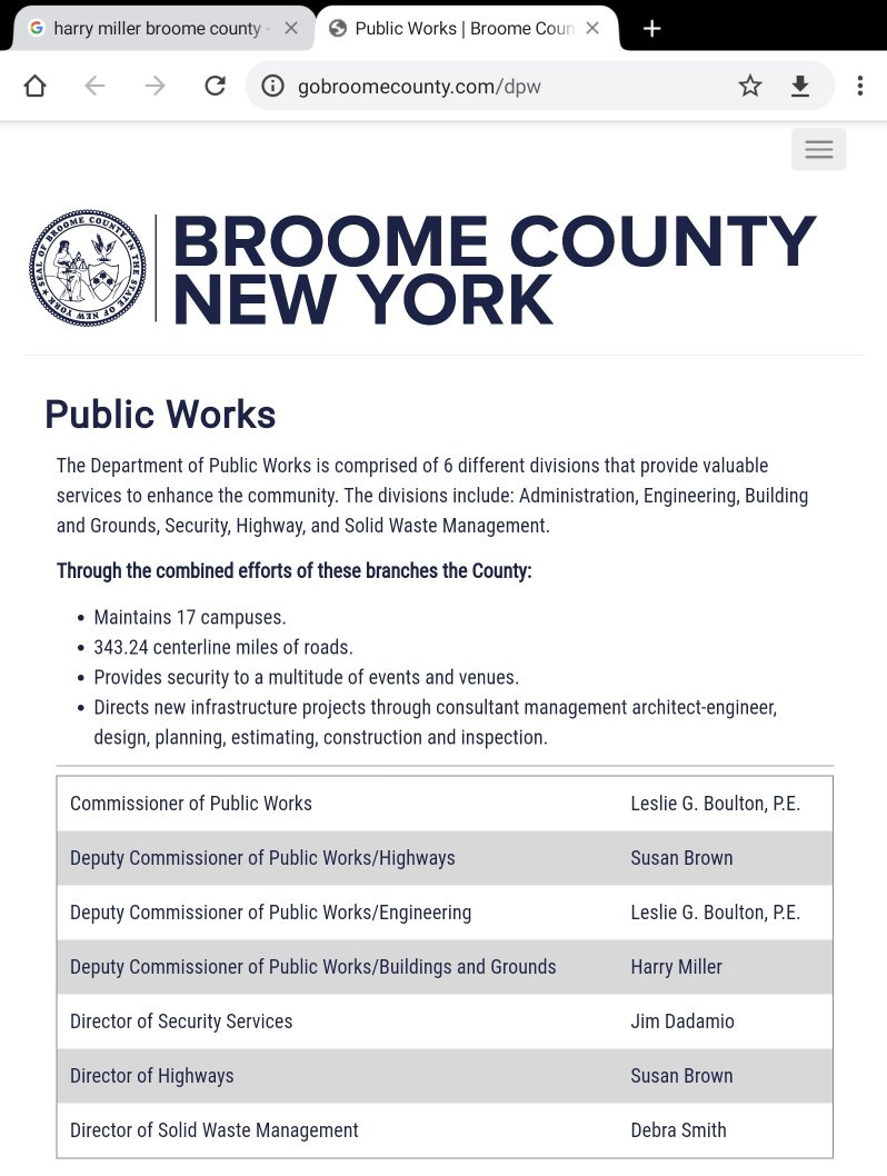 Broome County DPW Web Page 2020